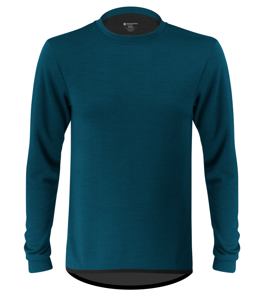 Men's Merino Wool Base Layer in Teal Front View