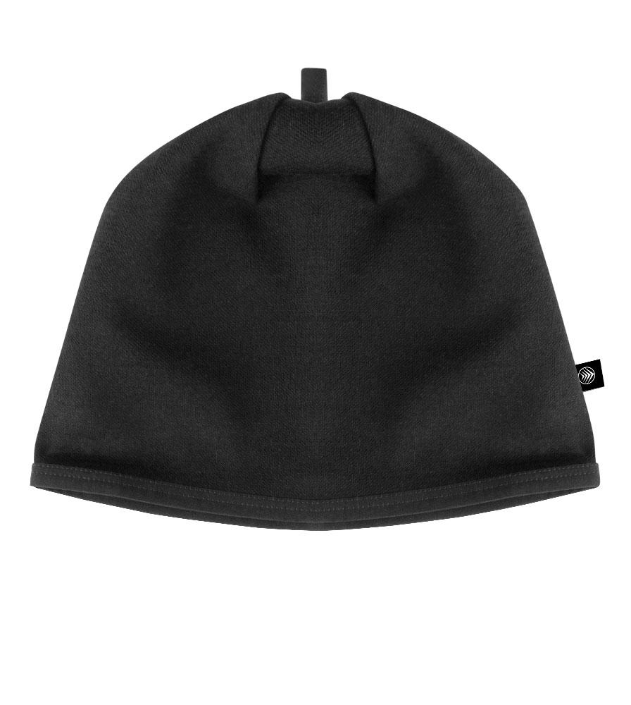 Merino Wool Beanie in Black Flat View