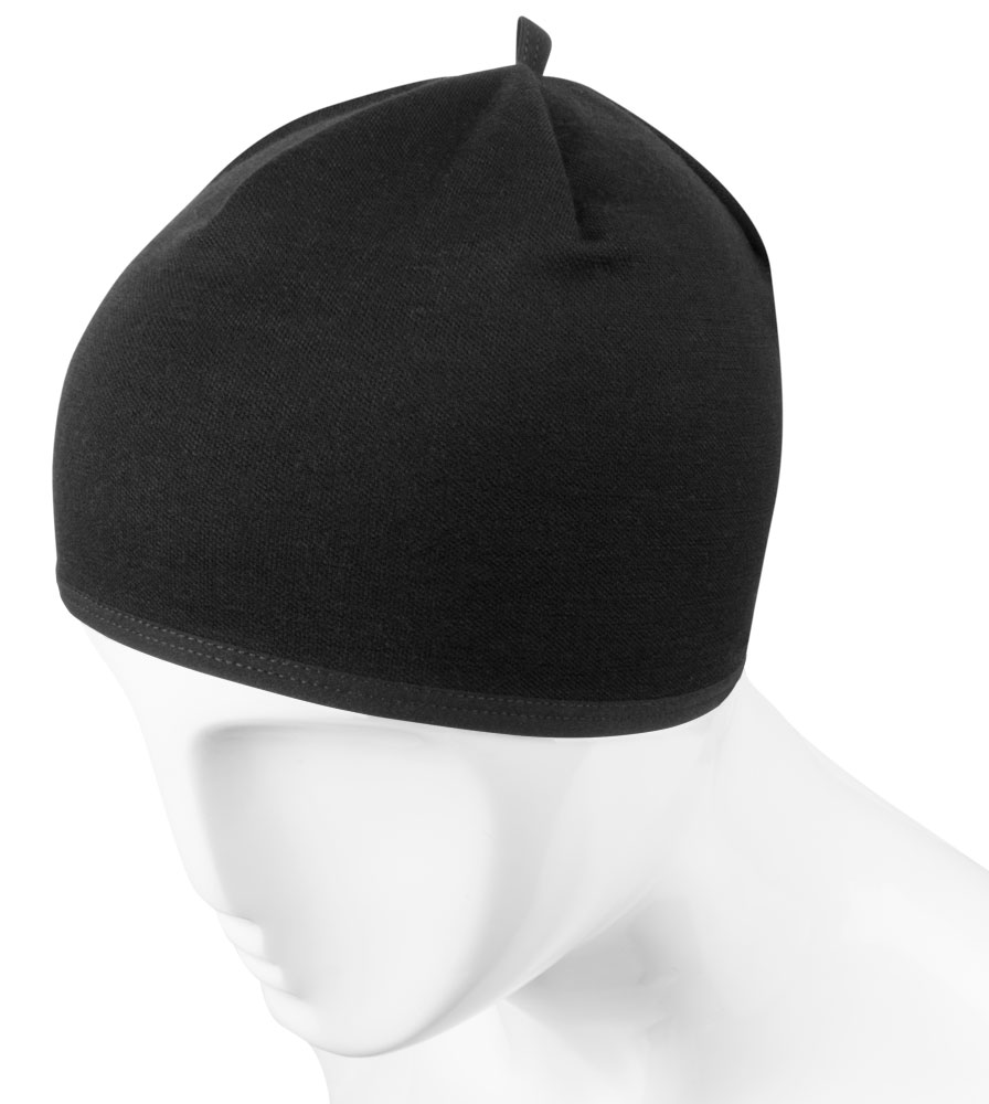 Merino Wool Beanie in Black Over Top View
