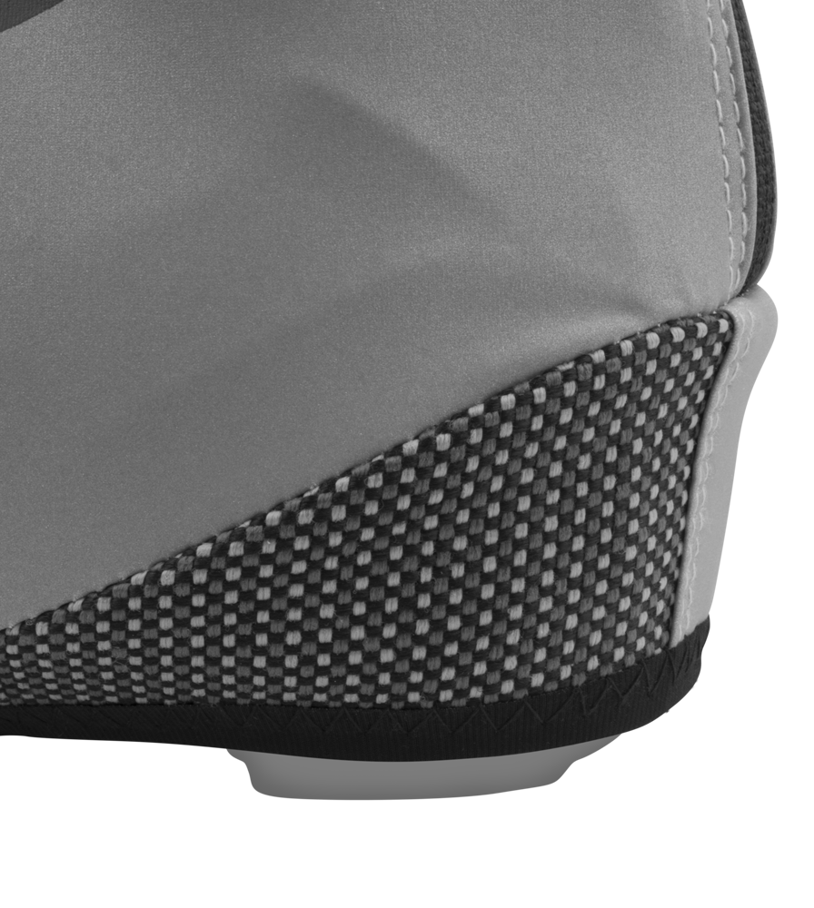 Kevlar Heel Close-up on Reflective Cycling Shoe Covers