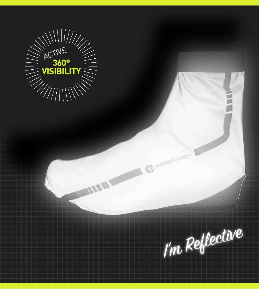 Active 360 Degree Visibility on the Reflective Cycling Shoe Cover