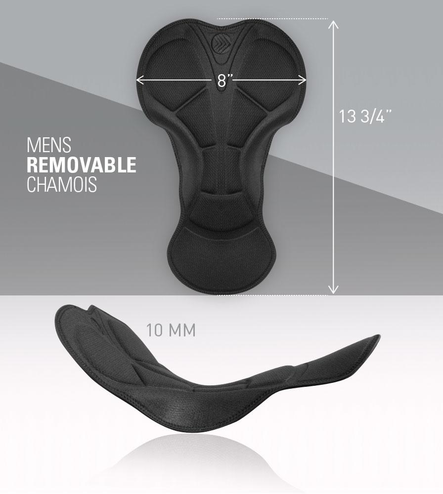 Men's Removable Chamois Pad Dimensions