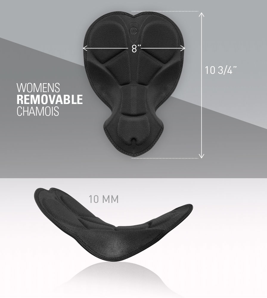 Women's Removable Chamois Pad Dimensions