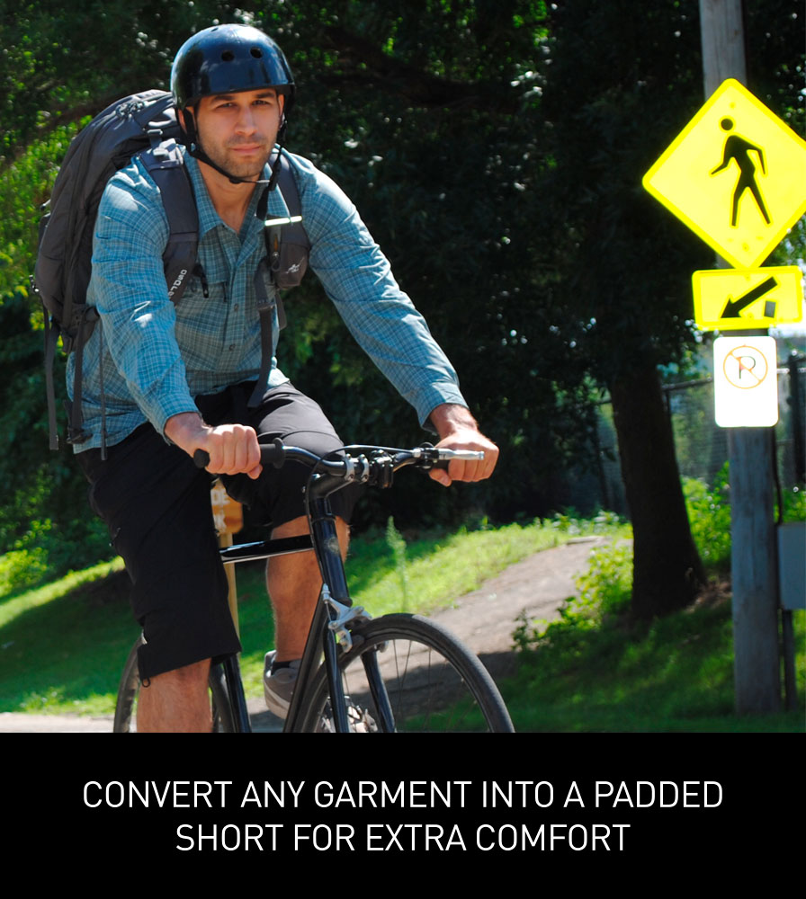 Removable Chamois Pad converts any short into a Bike Short