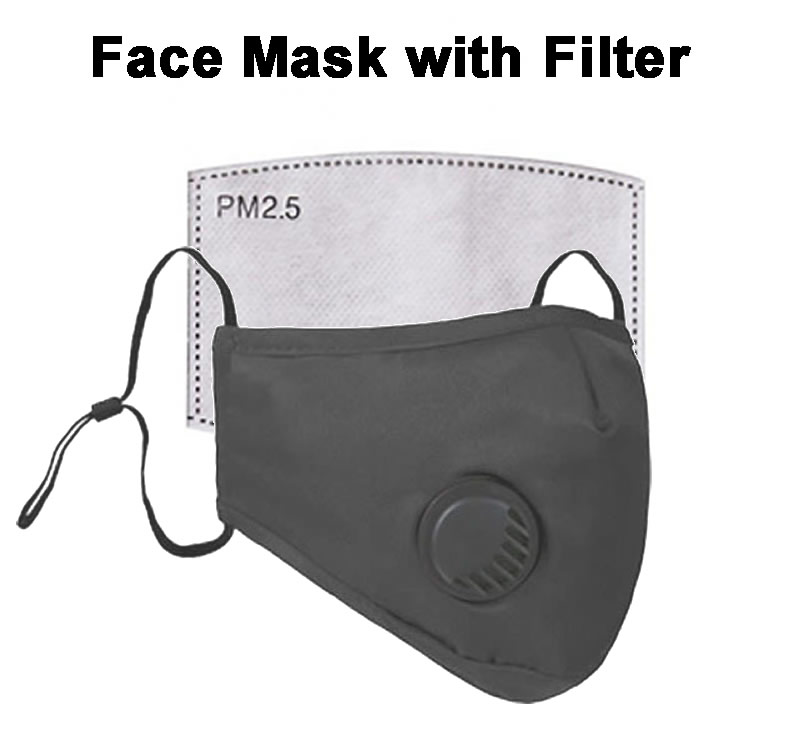 Black Reuseable Cotton Face Mask with Port and Filter