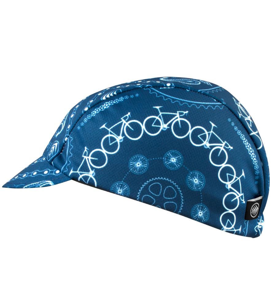 Blue Bandanna Rush Cycling Caps Full Left Side View