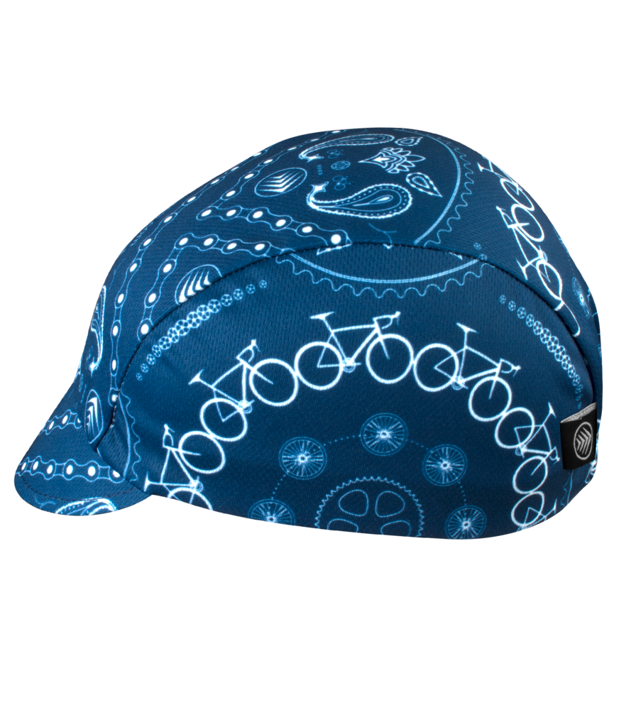 Blue Bandanna Cycling Cap Side View