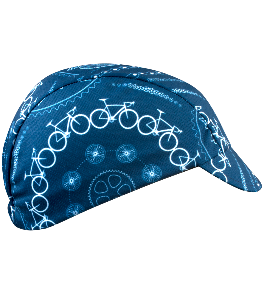 Blue Bandanna Rush Cycling Caps Full Right Side View