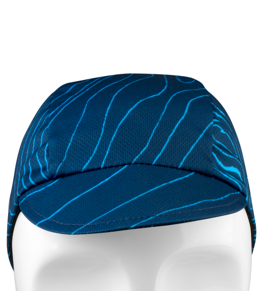 Blue Topo Rush Cycling Caps Front View