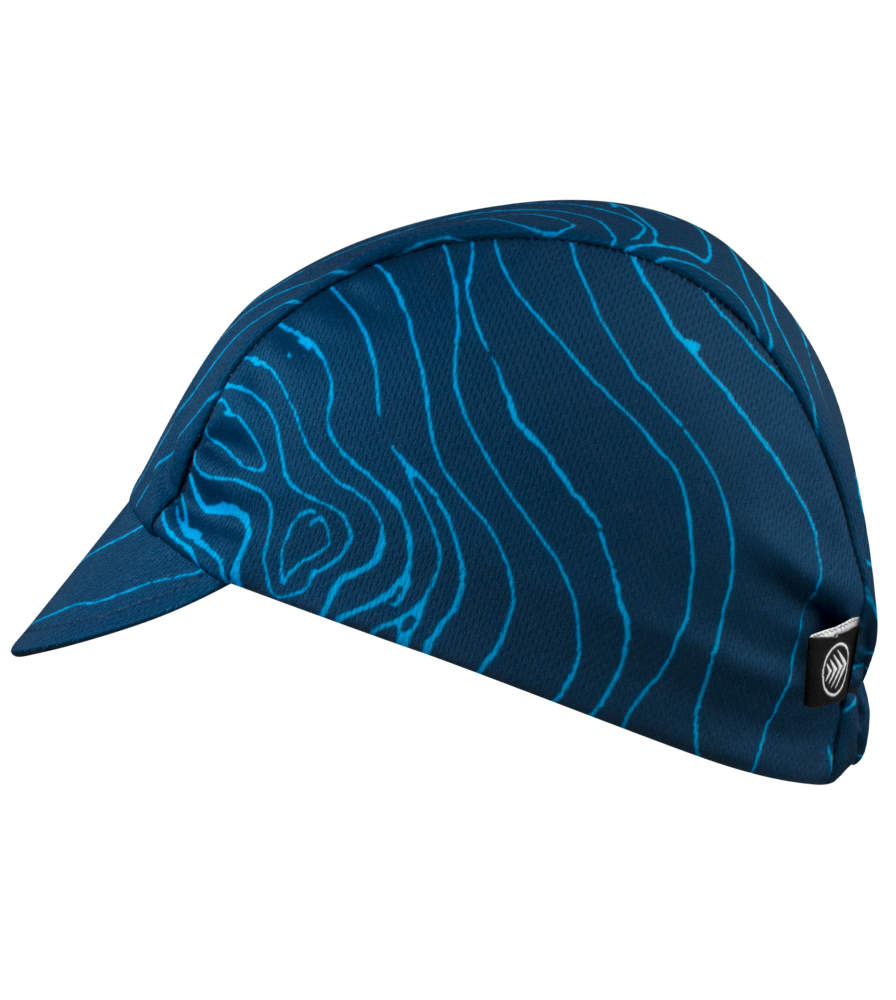 Blue Topo Rush Cycling Caps Full Left Side View