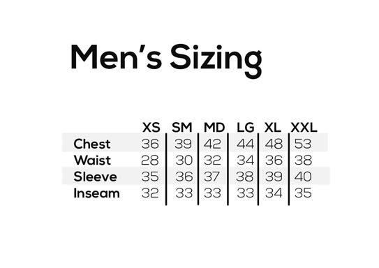 Showers Pass Men's Size Chart