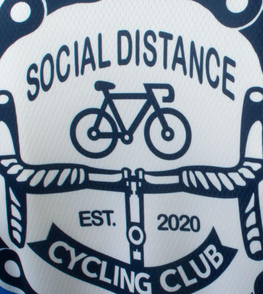 Social Distance Cycling Club Royal Blue Men's Peloton Jersey Back Logo Close-up