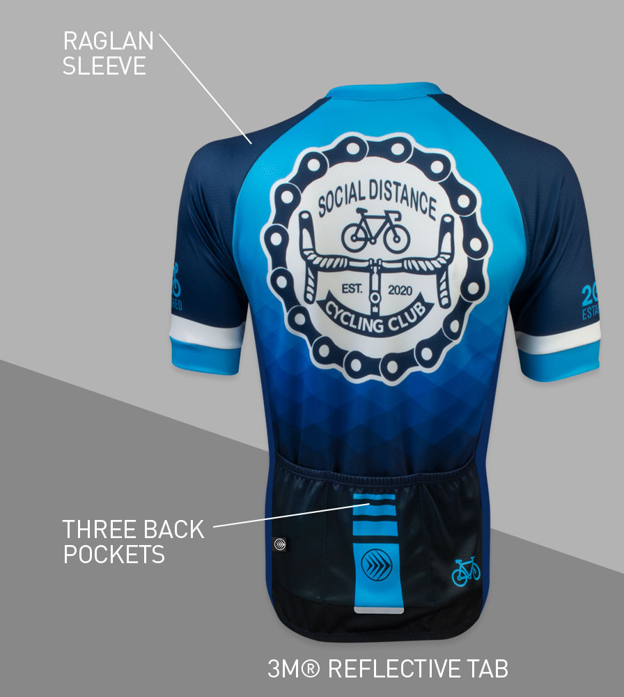 Social Distance Cycling Club Royal Blue Men's Peloton Jersey Back Features