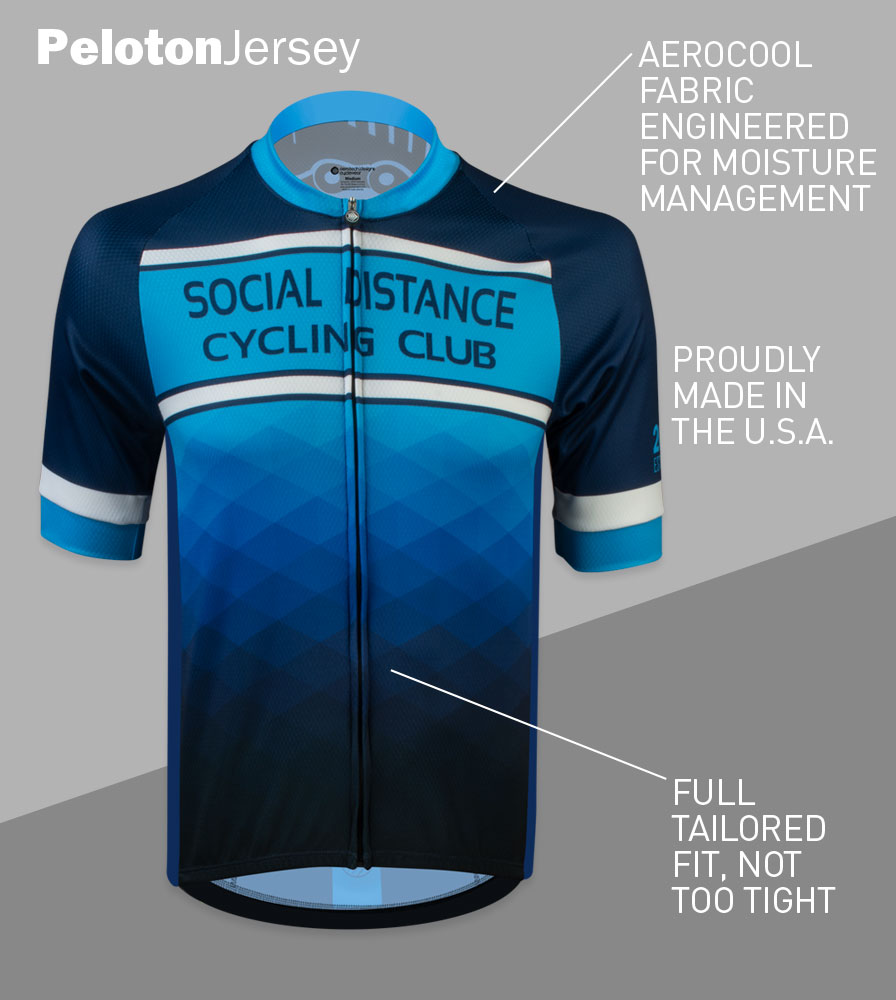 Social Distance Cycling Club Royal Blue Men's Peloton Jersey Front Features