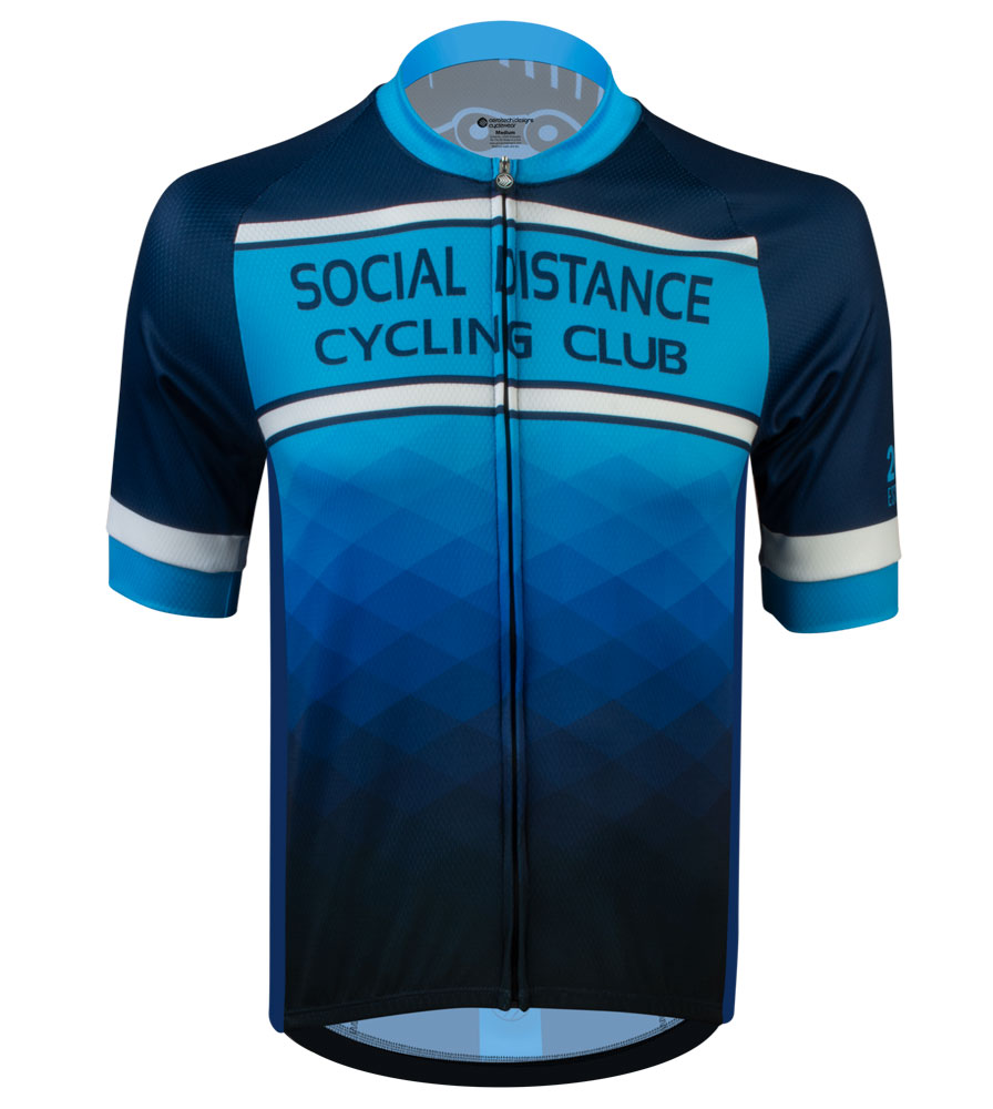 Social Distance Cycling Club Royal Blue Men's Peloton Jersey Full Front View