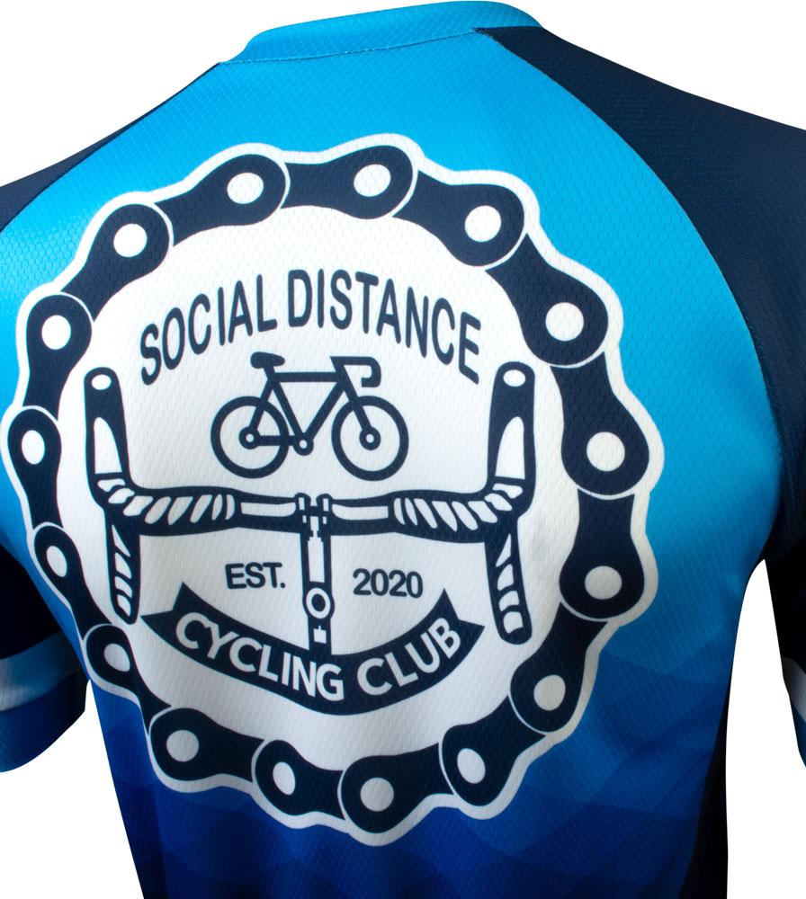 Social Distance Cycling Club Royal Blue Men's Peloton Jersey Top Back View