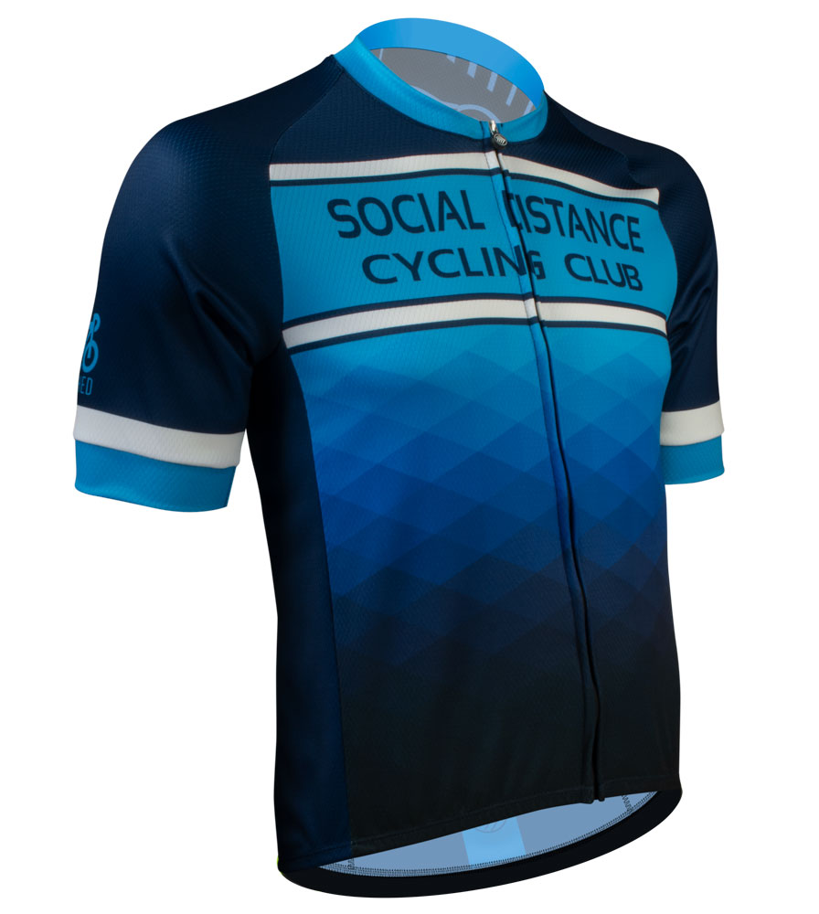 Social Distance Cycling Club Royal Blue Men's Peloton Jersey Front View