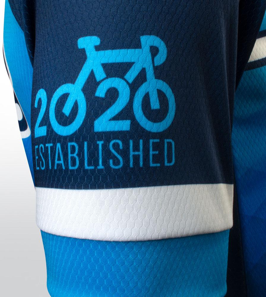 Social Distance Cycling Club Royal Blue Men's Peloton Jersey Sleeve Detail1