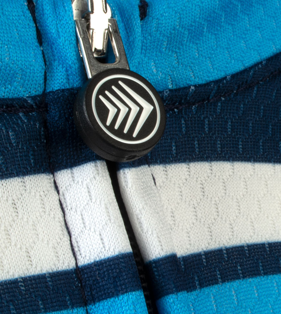 Social Distance Cycling Club Royal Blue Men's Peloton Jersey Zipper Pull Detail