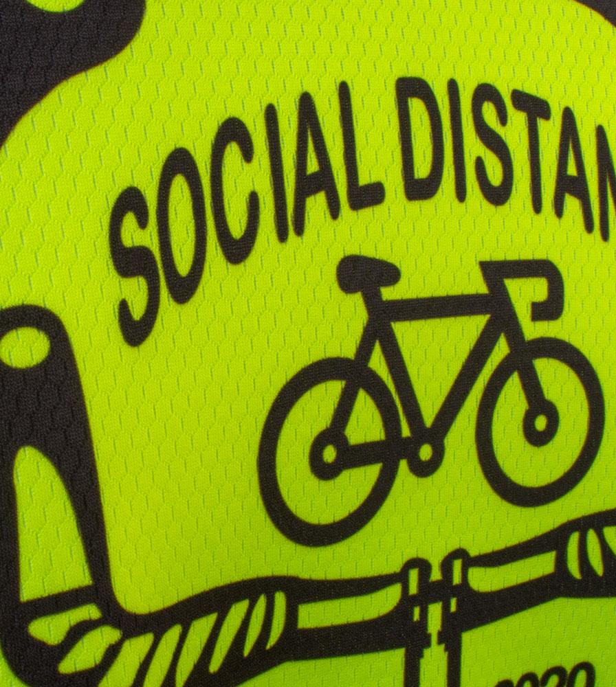Social Distance Cycling Club Safety Yellow Men's Peloton Jersey Back Logo Close-up