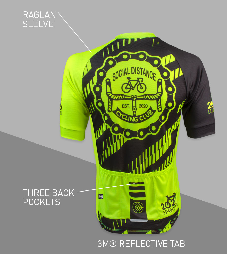 Social Distance Cycling Club Safety Yellow Men's Peloton Jersey Back Features