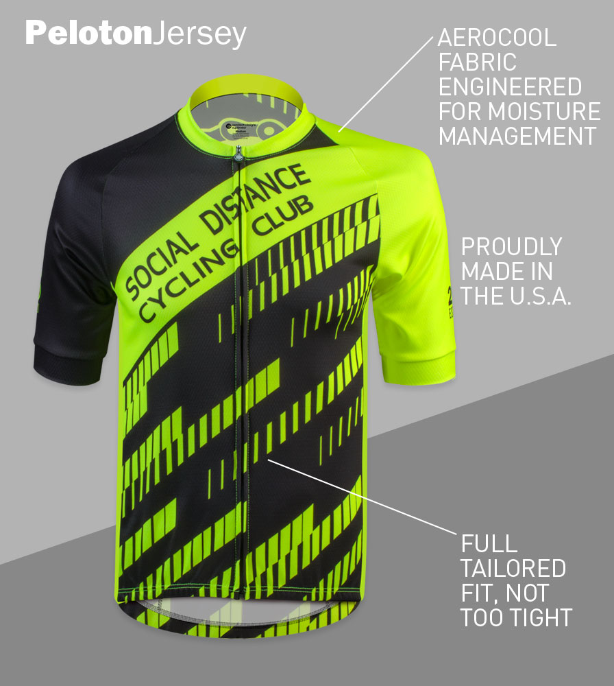 Social Distance Cycling Club Safety Yellow Men's Peloton Jersey Front Features