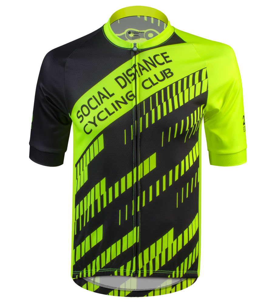 Social Distance Cycling Club Safety Yellow Men's Peloton Jersey Full Front View