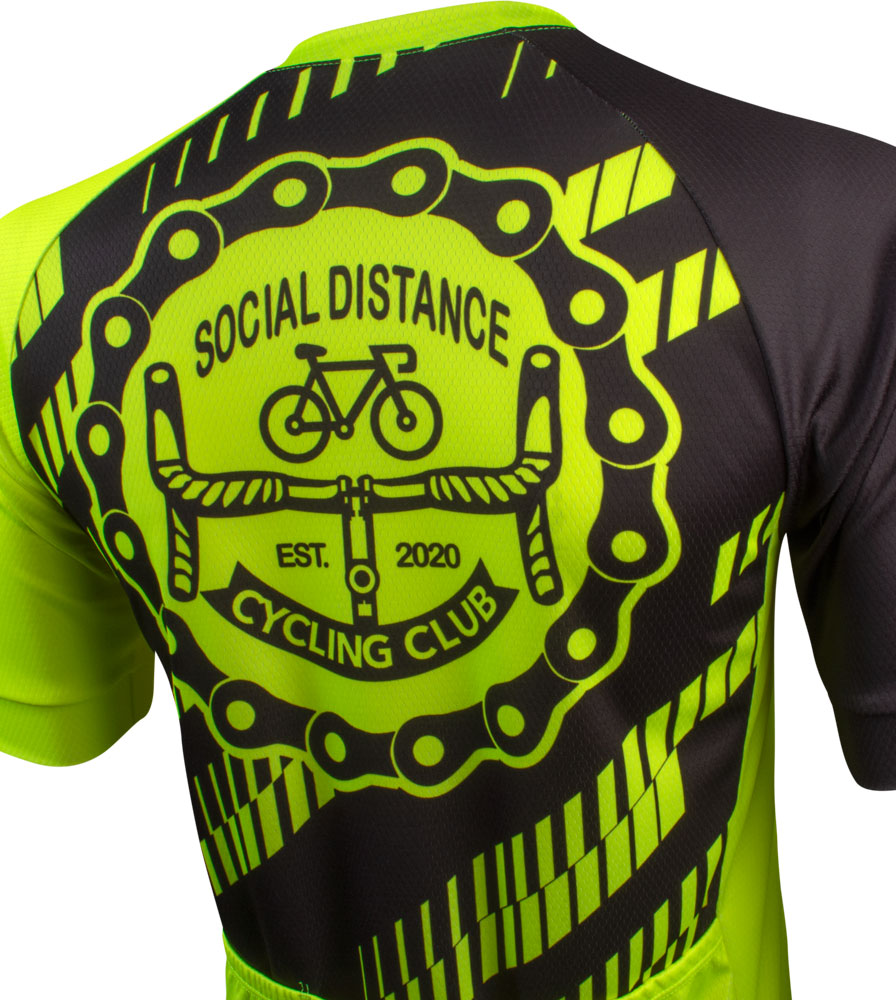 Social Distance Cycling Club Safety Yellow Men's Peloton Jersey Top Back View