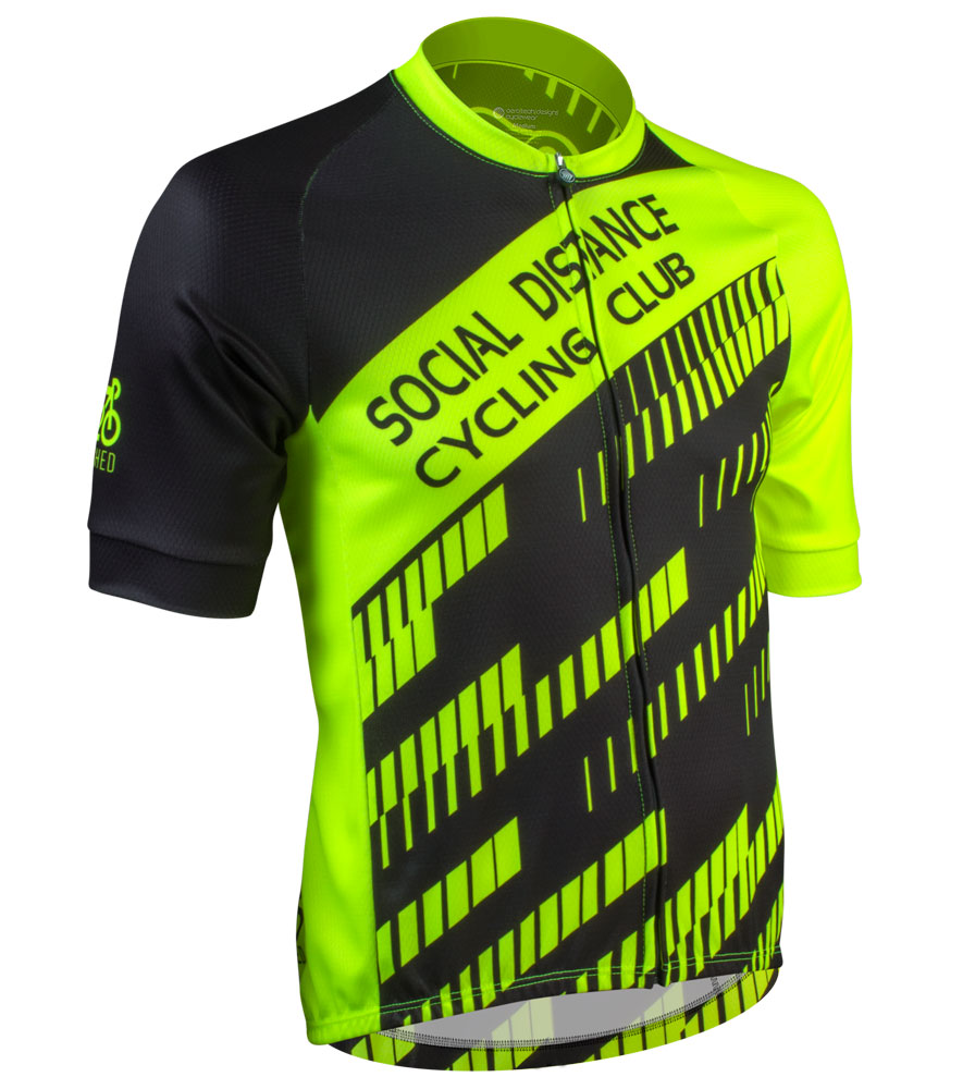 Social Distance Cycling Club Safety Yellow Men's Peloton Jersey Front View