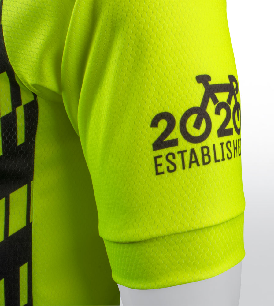 Social Distance Cycling Club Safety Yellow Men's Peloton Jersey Safety Yellow Sleeve Detail