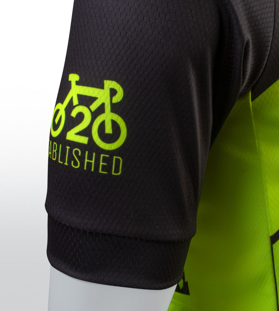 Social Distance Cycling Club Safety Yellow Men's Peloton Jersey Black Sleeve Detail
