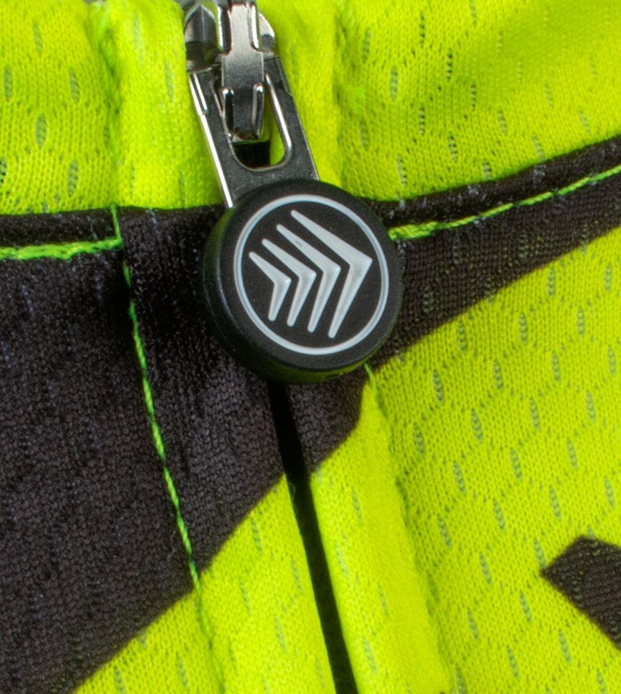 Social Distance Cycling Club Safety Yellow Men's Peloton Jersey Zipper Pull Detail