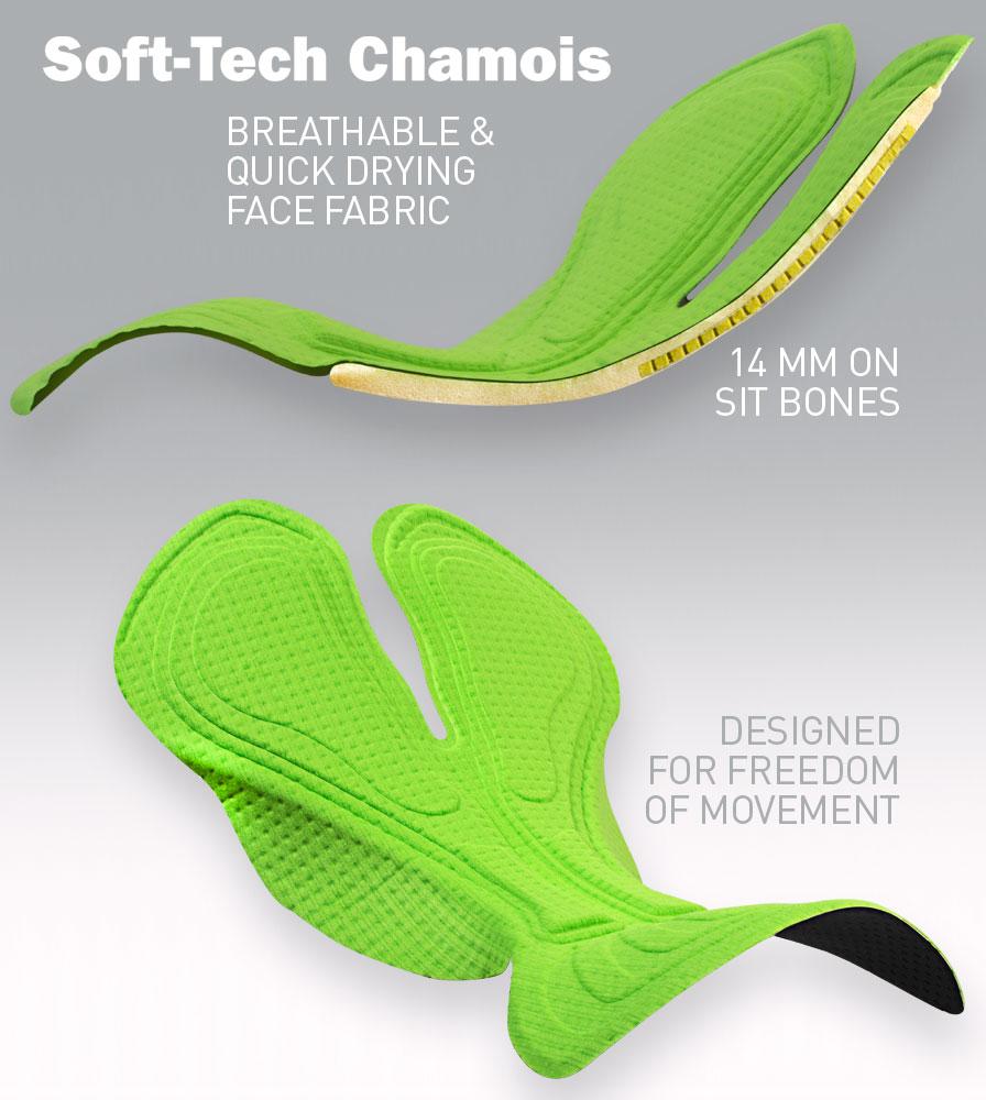 Tech Mesh Cycling Gym Shorts Soft Tech Chamois Pad Features