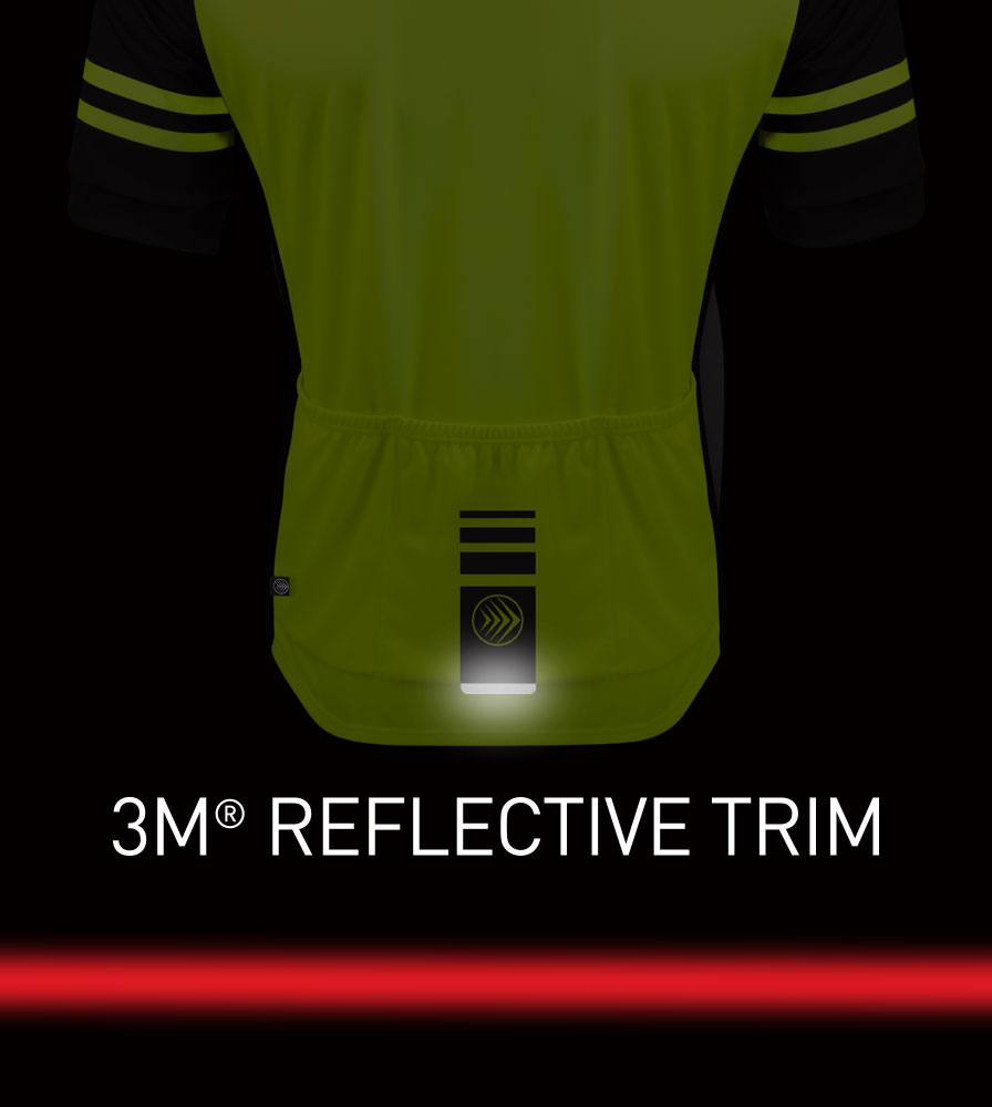 Men's USA Classic Safety Yellow Sprint Cycling Jersey Reflective Tab