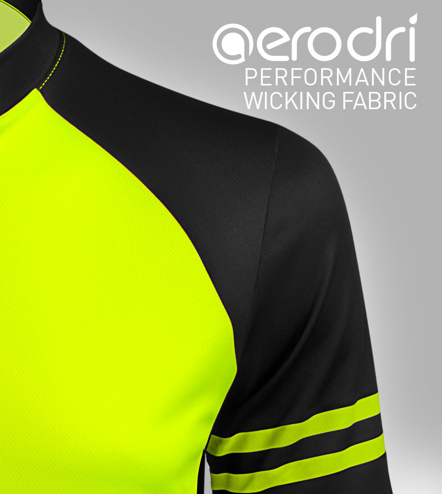 Men's USA Classic Safety Yellow Sprint Cycling Jersey AeroDRI Fabric Features