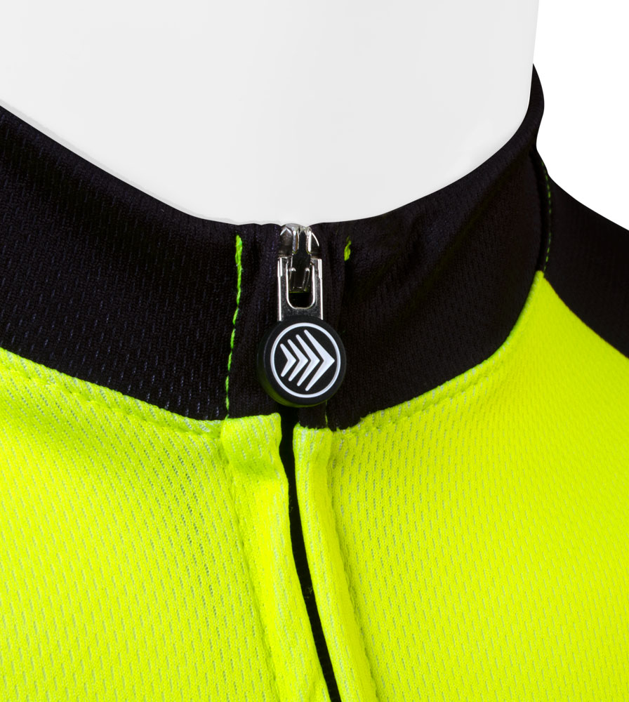 Men's USA Classic Safety Yellow Sprint Cycling Jersey Zipper Pull Detail