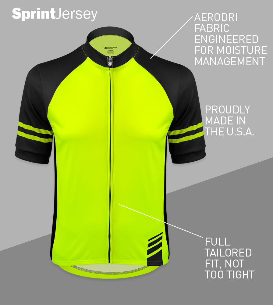 Men's USA Classic Safety Yellow Sprint Cycling Jersey Front Features