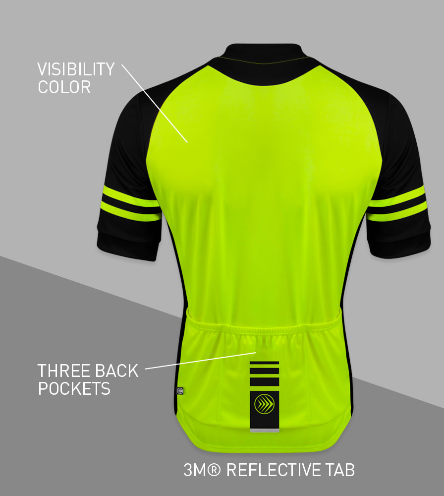Men's USA Classic Safety Yellow Sprint Cycling Jersey Back Features