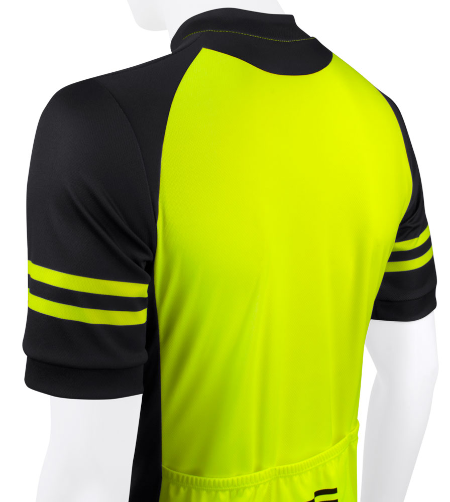 Men's USA Classic Safety Yellow Sprint Cycling Jersey Top Back Detail
