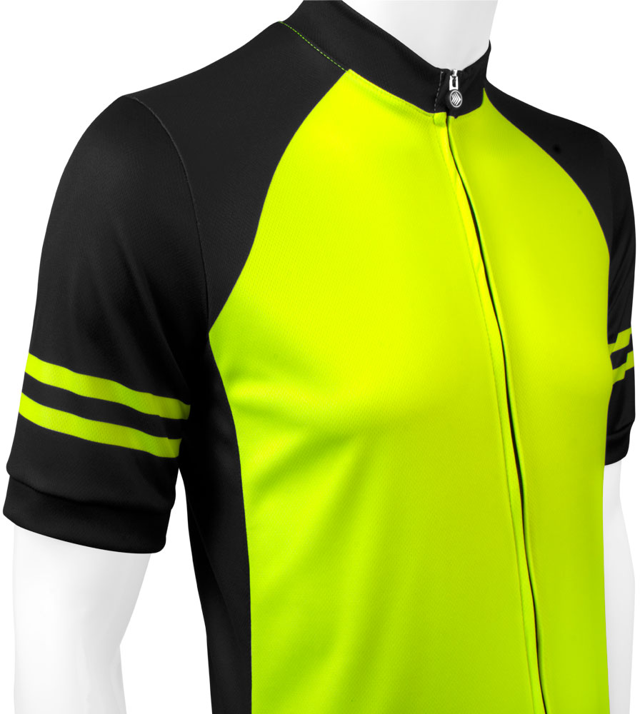 Men's USA Classic Safety Yellow Sprint Cycling Jersey Top Front Detail