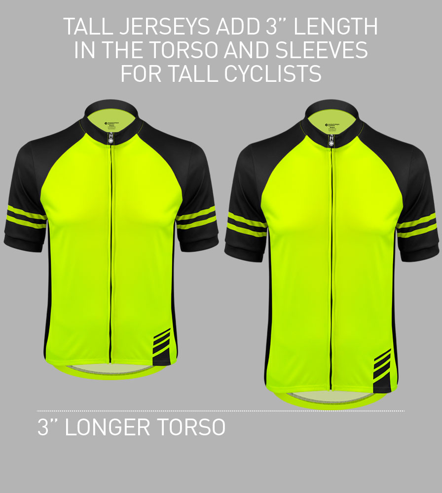 Men's Tall Safety Yellow Bike Jersey Information
