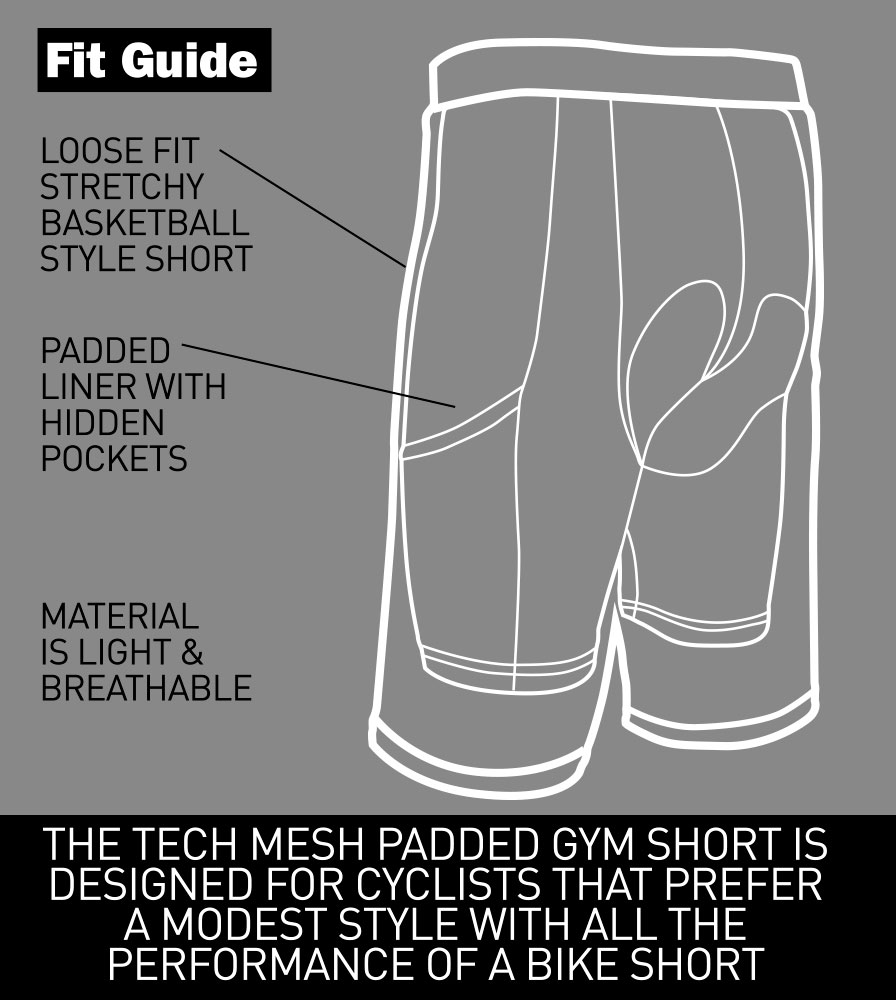 Tech Mesh Cycling Gym Shorts with Padded Liner Fit Guide