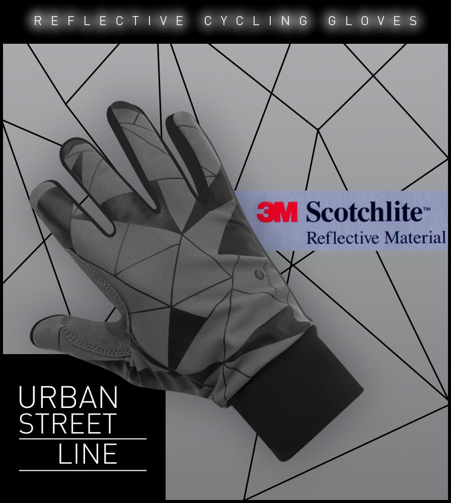 Urban Street Line Reflective Cycling Glove Graphic