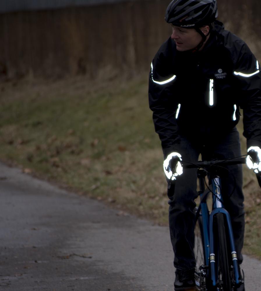 Urban Street Line Reflective Cycling Glove Lit Up on the Bike