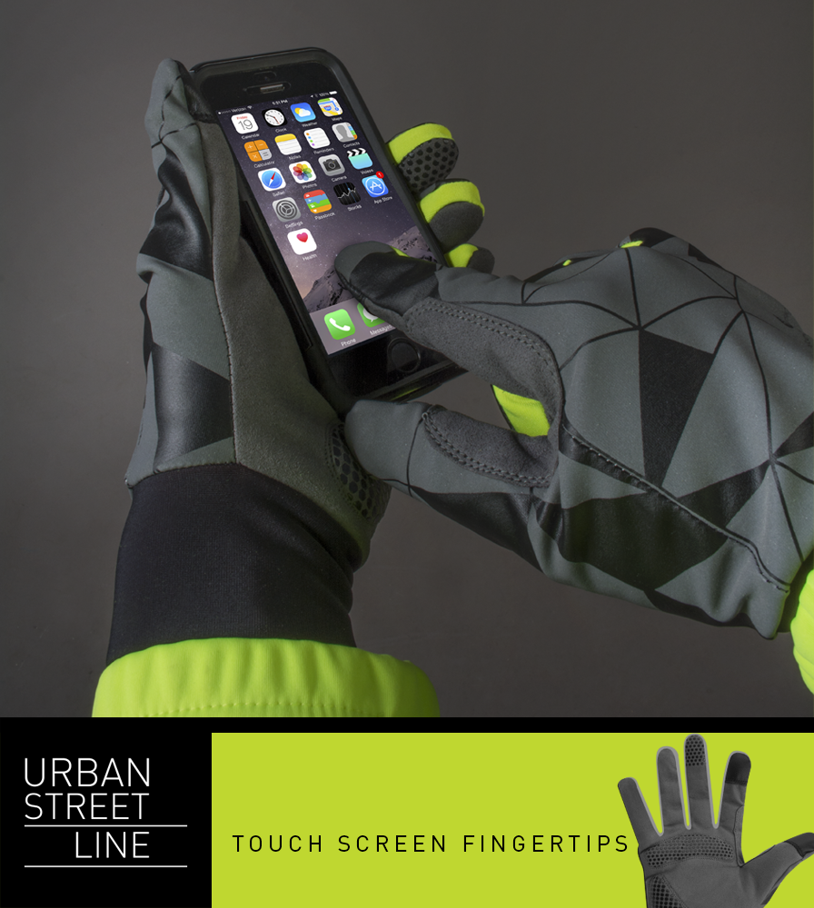 Urban Street Line Reflective Cycling Glove Touch Screen Capability