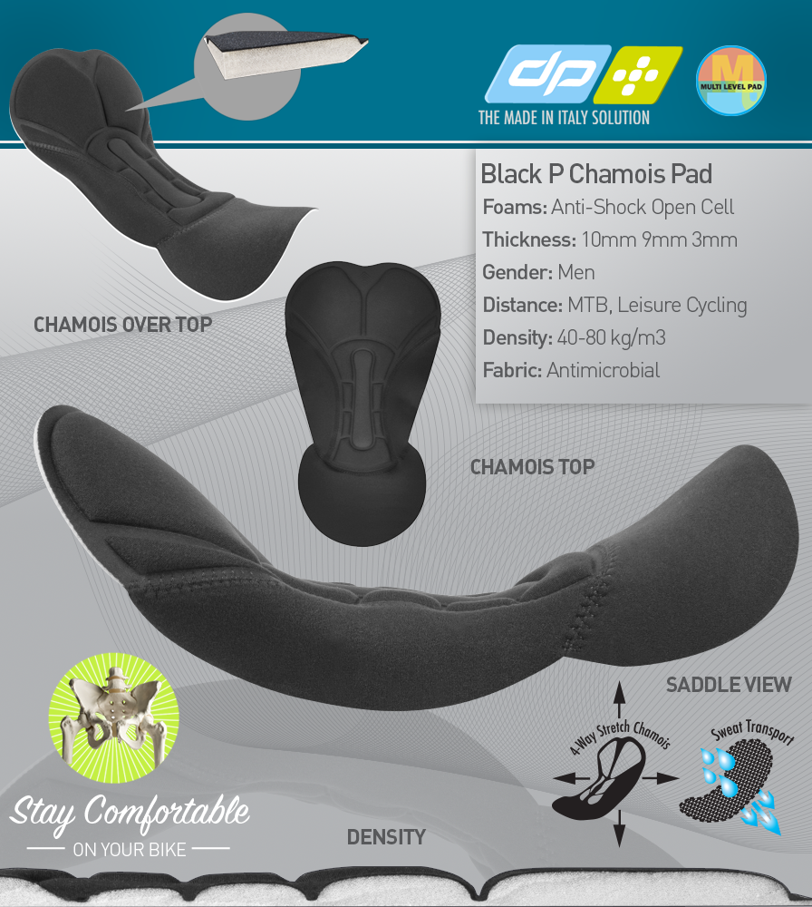 Black P. Chamois Pad Features