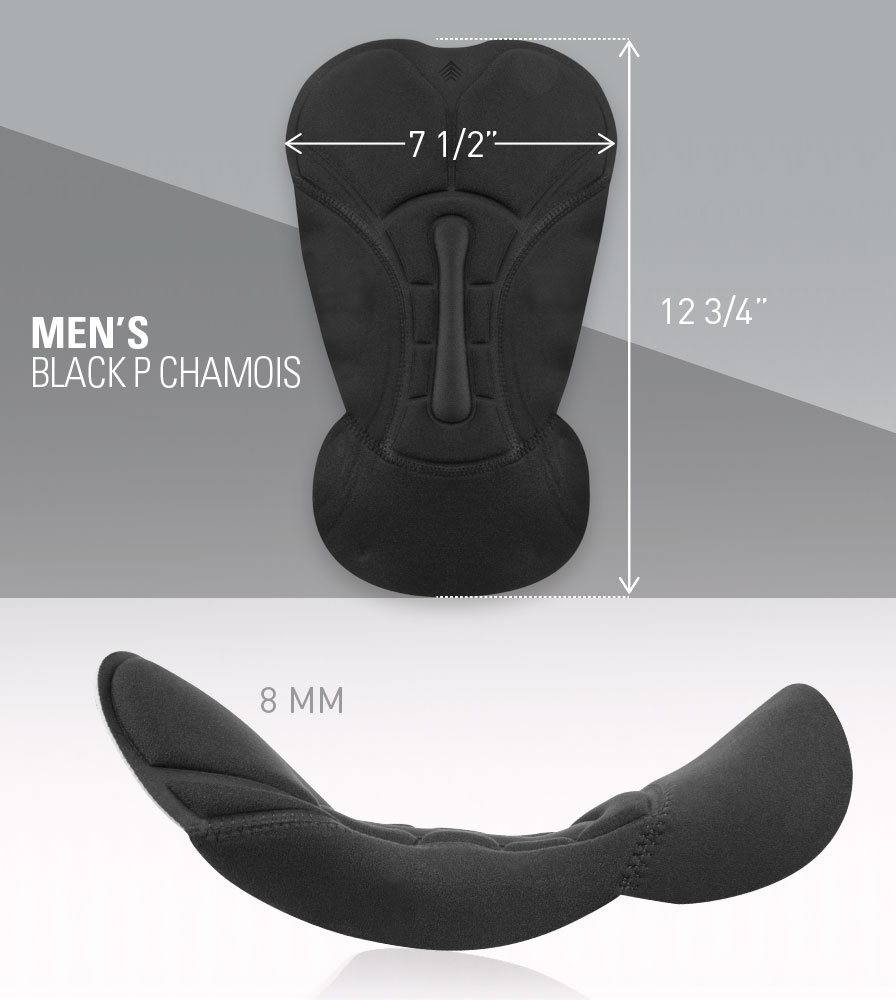 USA MTB Black P. Chamois Pad Measurements