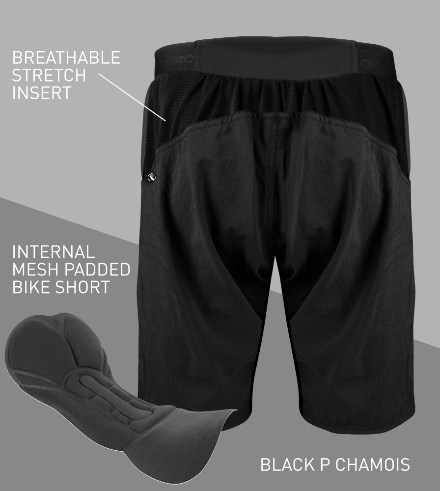 USA MTB Baggy Cycling Shorts Back Features