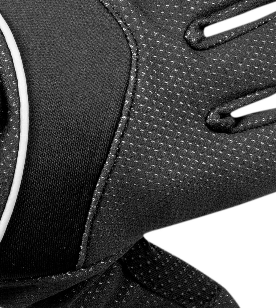 Black Windproof Full Finger Cycling Glove Top Fabric