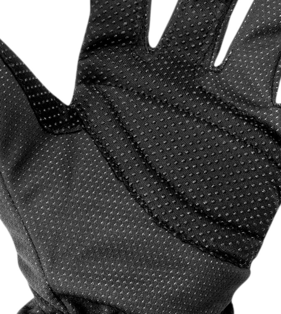 Black Windproof Full Finger Cycling Glove Palm Detail